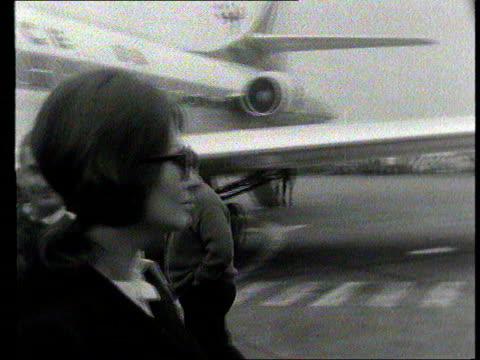 part 1; tx 11.4.1966 sophia loren at london airport - shows actress sophia loren off plane and talks to press about rumours surrounding her marriage... - sophia loren stock videos & royalty-free footage