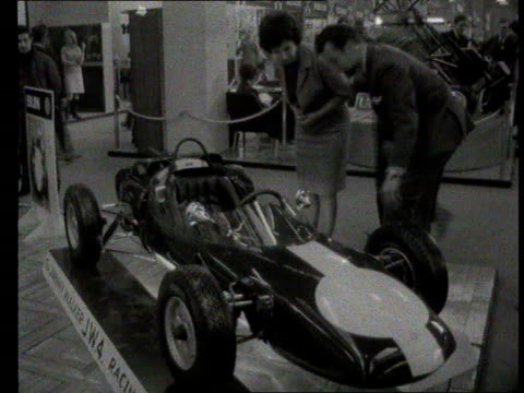 Part 1 TX Racing car exhibition Shows new racing cars on show including Lotus 33 Coventry Climax and 1966 Cooper Grand Prix racing car