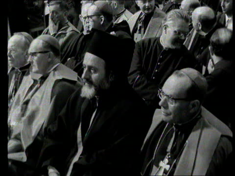 part 1; tx 23.3.1966 the archbishop of canterbury, the most reverend michael ramsey meets pope paul which is the first official meeting in 400 years... - anglican stock videos & royalty-free footage