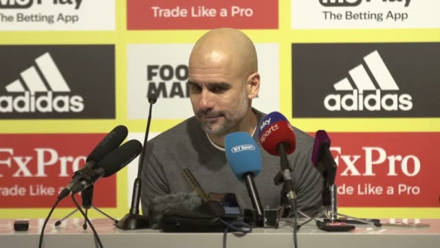 Clips from Pep Guardiola's postmatch press conference after his Manchester City side defeated Watford 21 at Vicarage Road to extend their lead at the...