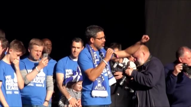 clips of huddersfield town head coach david wagner and chairman dean hoyle speaking on stage at their promotion celebration. - huddersfield town football club stock videos & royalty-free footage