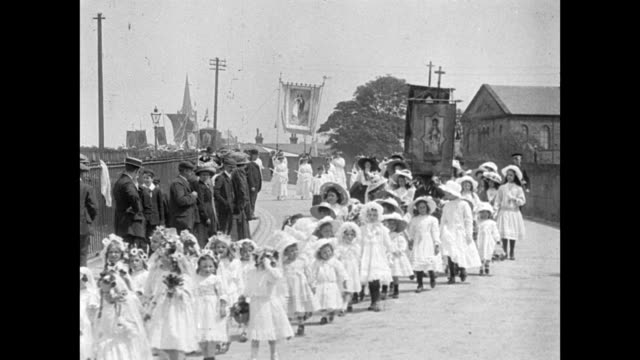 clitheroe coronation procession 1911 - 1910 stock videos & royalty-free footage