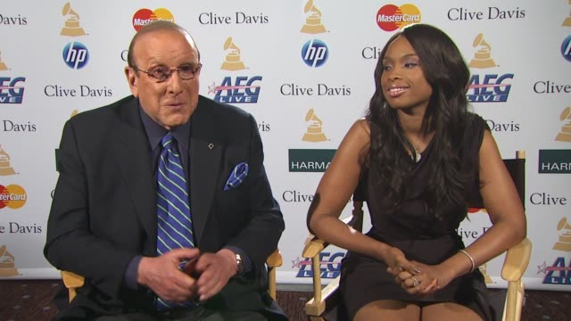 Clive Davis and Jennifer Hudson on Clive's conversation with Aretha and how she is feeling at the PreGRAMMY Gala And Salute To Industry Icons Junket...