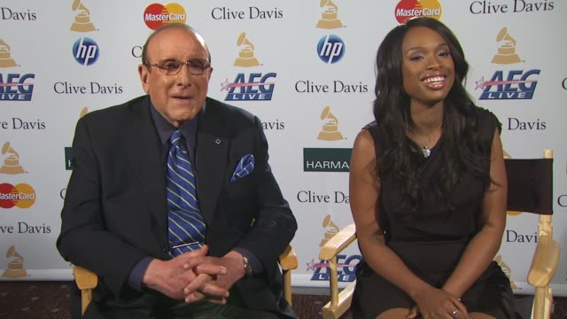Clive Davis and Jennifer Hudson on her new album at the PreGRAMMY Gala And Salute To Industry Icons Junket at Beverly Hills CA