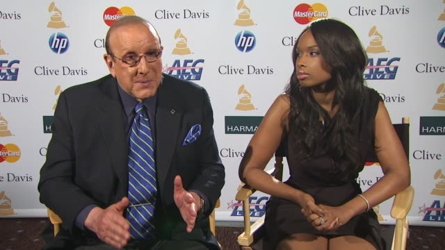 Clive Davis and Jennifer Hudson on the state of the music industry in general at the PreGRAMMY Gala And Salute To Industry Icons Junket at Beverly...