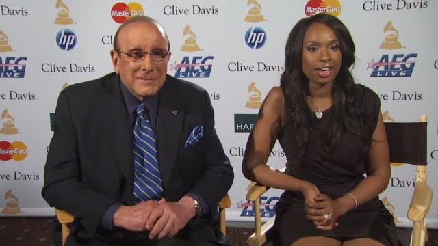 clive davis and jennifer hudson on what it's like for jennifer to perform in front of so many icons of the music industry at the pregrammy gala and... - jennifer hudson stock videos & royalty-free footage