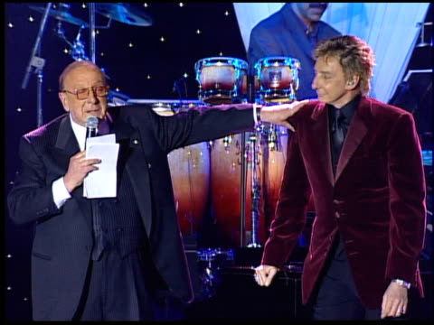 clive davis tells barry manilow his new album will debut at number one at the clive davis' pre-grammy awards party concert at the beverly hilton in... - barry manilow stock videos & royalty-free footage