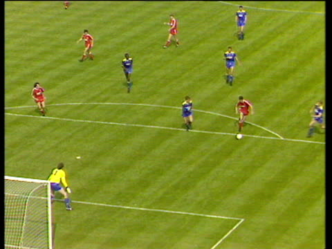 clive goodyear gives away penalty after foul on john aldridge , liverpool vs wimbledon, 1988 fa cup final, wembley, london - final round stock videos & royalty-free footage