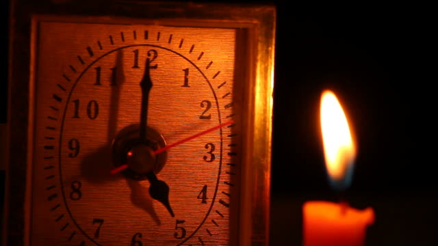 Clock and candlelight.