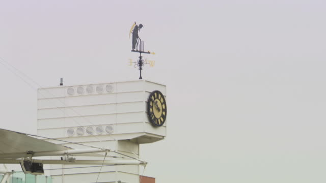 ws clock and wind indicator at lords cricket ground / london united kingdom - lords cricket ground stock videos and b-roll footage