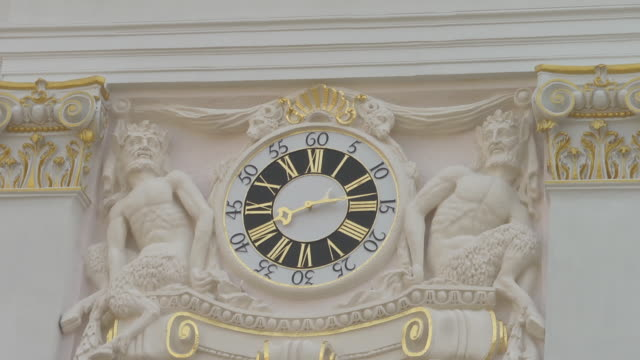 clock at old town hall - roman numeral stock videos & royalty-free footage