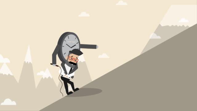 vídeos de stock e filmes b-roll de clock boss sit on businessman to walk to walk up hill (business concept cartoon) - esperar