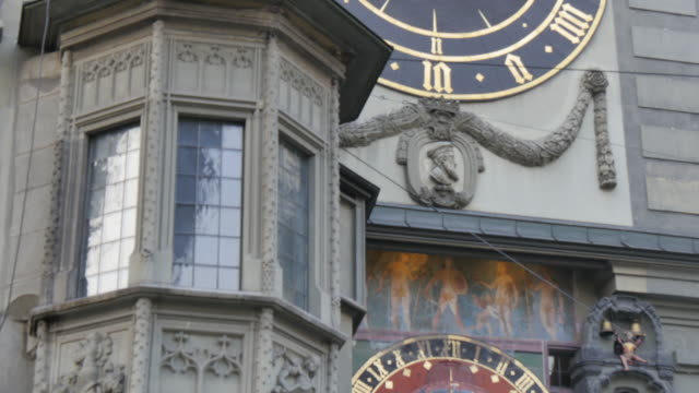 Clock detail on Marktgasse, Bern, Canton of Bern, Bernese Oberland, Swiss Alps, Switzerland, Europe