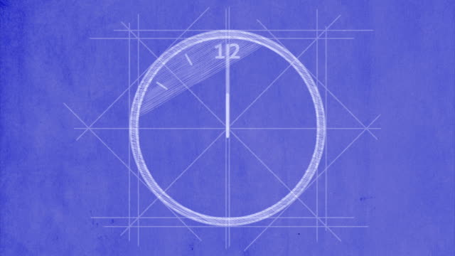 Clock drawn on blueprint paper, with 12 hour timelapse