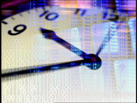 vídeos de stock e filmes b-roll de clock face, binary numbers and computer keyboard superimposed on top of one another - código binário