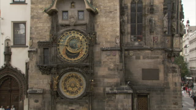 Clock faces decorate the Prague Orloj an astrological clock in Prague Czech Republic. Available in HD.