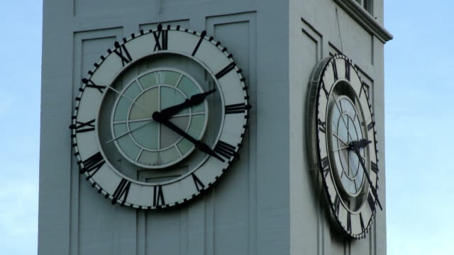 cu, clock on ferry building tower, san francisco, california, usa - clock tower stock videos & royalty-free footage