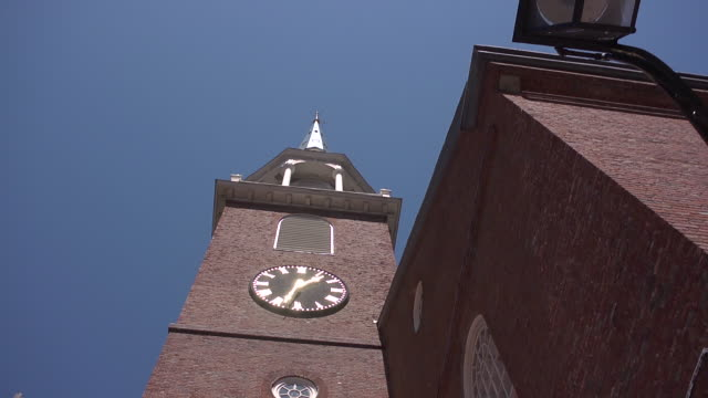 clock on old south meeting house in boston - steeple stock videos & royalty-free footage