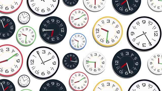 クロックタイムの経過と移動高速アニメーション、回転、回転、異なるクロックが一緒に回転します。 スピード、締切、目覚め、ストレス、時間、物理的な圧力、ビジネス、時間、速度、カ - タイマー点の映像素材/bロール