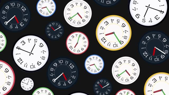 vídeos de stock, filmes e b-roll de lapso de tempo do relógio e animação rápida em movimento, diferentes relógios girando, girando, girando juntos.  os conceitos de velocidade, prazo, acordar, estresse, hora, pressão física, negócios, tempo, velocidade, contagem regressiva, relógio  - repetição conceito