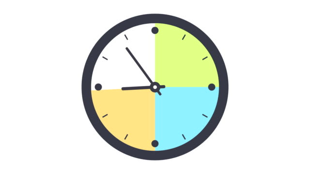 clock timelapse looping 12 hours highlighting every 3 hours in different color - timer stock videos & royalty-free footage