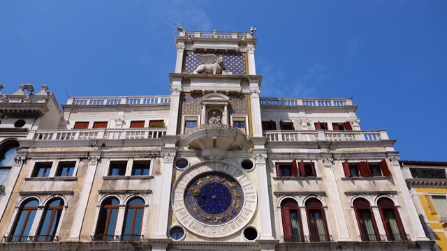clock tower (torre dell orologio) at san marco square in venice, italy - astronomy stock videos & royalty-free footage