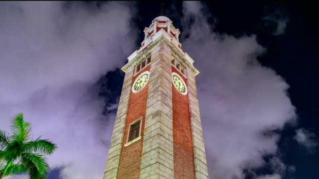 clock tower hyperlapse - tsim sha tsui stock videos & royalty-free footage