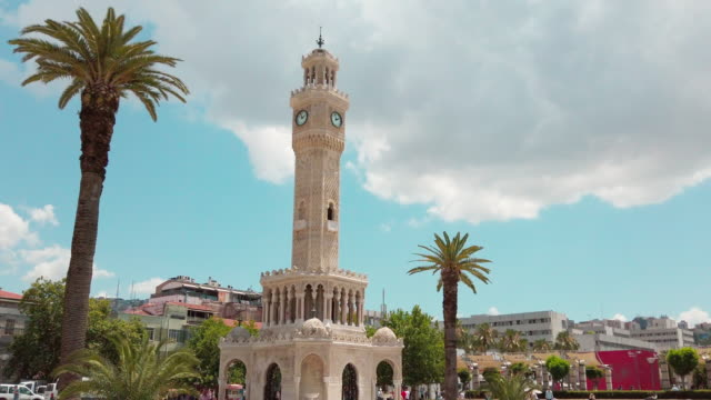 clock tower in izmir, konak square - clock tower stock videos & royalty-free footage