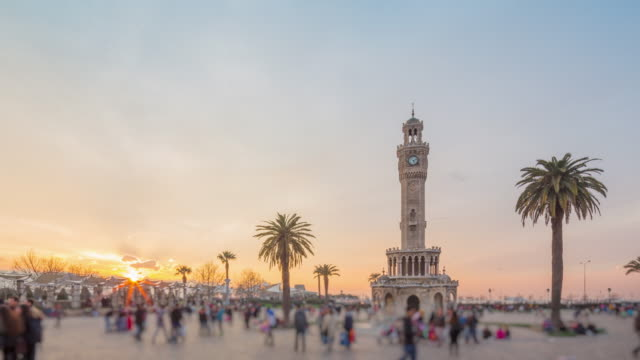 clock tower, konak square, izmir, turkey - clock tower stock videos and b-roll footage