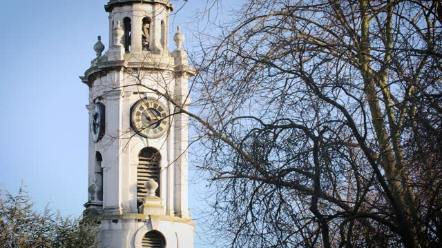 clock tower st paul's church in deptford, london - fade in video transition stock videos & royalty-free footage