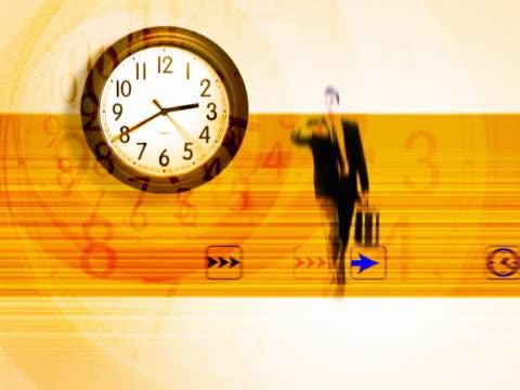 vídeos y material grabado en eventos de stock de clock with walking businessman - traje corbata