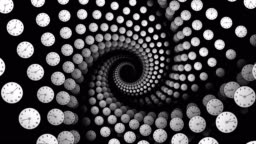 Clocks Spiral Tunnel Animation, Time Concept, Rendering, Background, with Alpha Channel, Loop