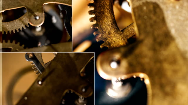 clockwork gear collage - montaggio in sequenza video stock e b–roll