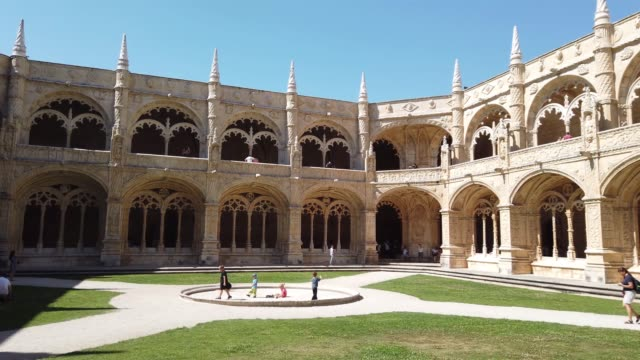cloister of jerónimos monastery, lisbon, portugal - 16th century style stock videos & royalty-free footage