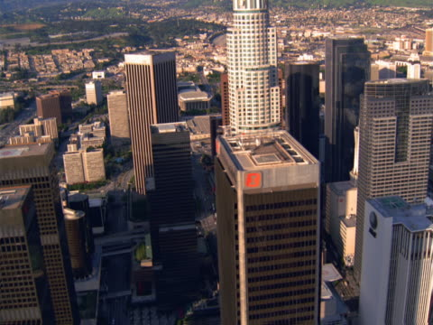 close aerial fly-bys of downtown los angeles business district towers. - artbeats stock videos & royalty-free footage
