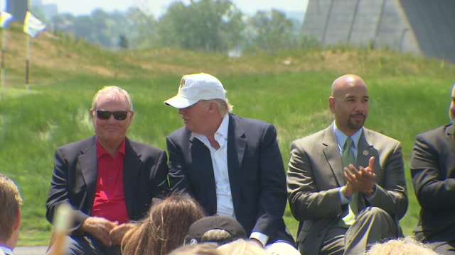 close and wide shot of donald trump jack nicklaus and ruben diaz jr at the ceremonial presentation of the new trump golf links trump ferry point golf... - golf links stock videos & royalty-free footage