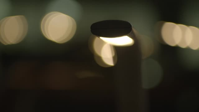 Close, angled view of a desk lamp