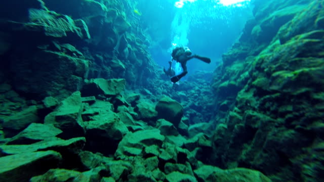 Close in view of three scuba divers swimming through the Silfra Fissure between the underwater cliffs in Thingvellir National Park Iceland.