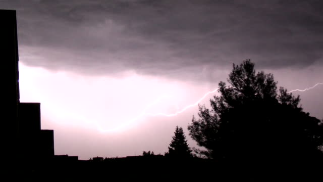 Close Lightning Strikes, Night Time Thunderstorm