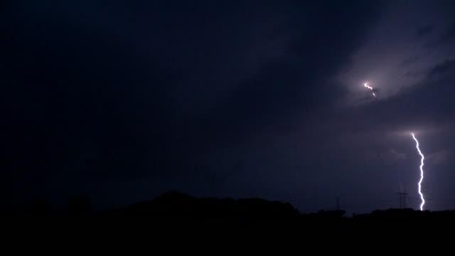 close lightning strikes, supercell thunderstorm - scott mcpartland stock videos and b-roll footage