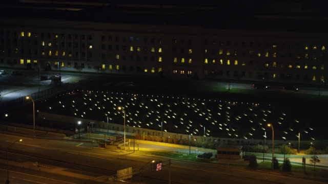 Close look at the Pentagon Memorial at night. Shot in 2011.