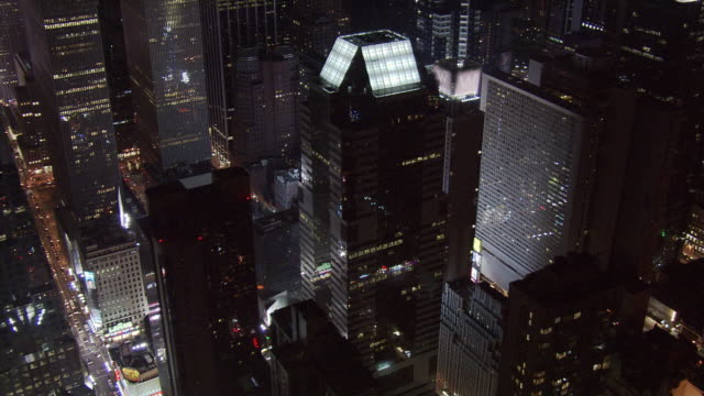 close night flight over times square area. shot in 2005. - artbeats stock videos & royalty-free footage