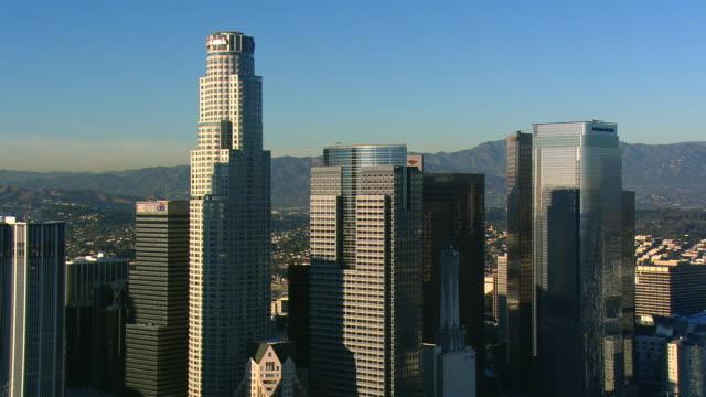 close orbit of los angeles financial district. shot in 2008. - artbeats stock-videos und b-roll-filmmaterial