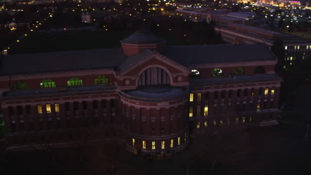 close partial orbit of the national war college in washington dc at night. shot in 2011. - artbeats stock videos & royalty-free footage