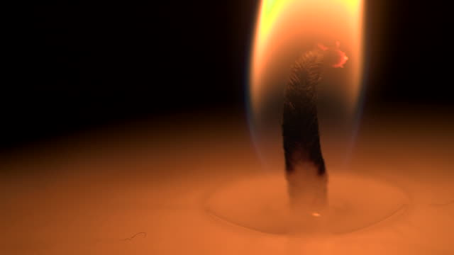 close shot of a burning candle wick. - candlelight stock videos & royalty-free footage