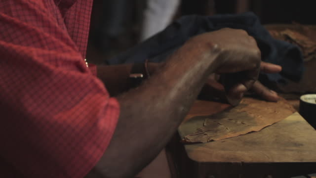close shot of a man creating and rolling a havana cigar. - bbc stock videos and b-roll footage