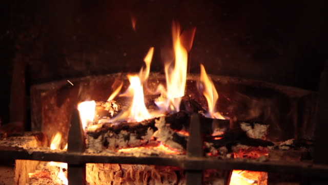 Close shot of a roaring log fire.