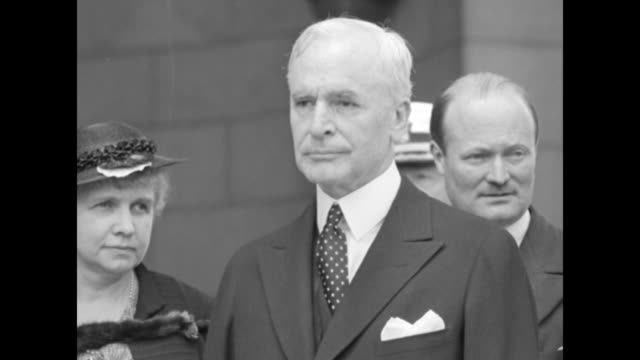 close shot of marguerite lebrun posing for photo opportunity upon her arrival in the us at union station pan across to us secretary of state cordell... - cordell hull stock videos and b-roll footage