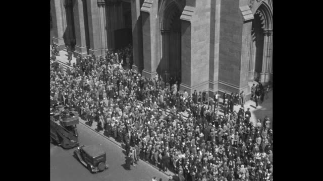 close shot of people's legs and feet as they walk on sidewalk / overhead shot of traffic in street and crowd on sidewalks / closer shot of crowd... - new york city 1930s stock videos & royalty-free footage