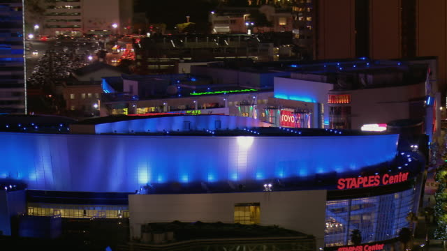 close shot of la's staples center arena - staples center stock videos and b-roll footage